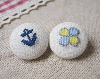 Nautical Anchor and Clover Embroidery Fabric Covered Button Pair