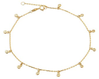 10K Gold Anklet 11 CZ Stone Design