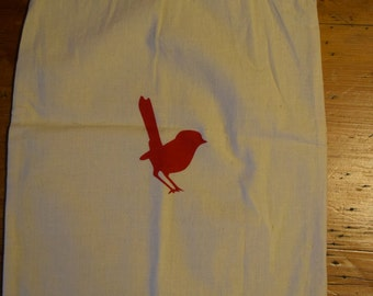Burlap drawstring bag, with a printed red wren