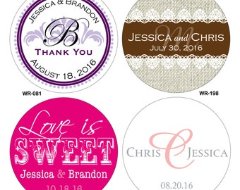 240 - 2 inch Custom Glossy Waterproof Wedding Stickers Labels - hundreds of designs to choose from - change designs to any color or wording