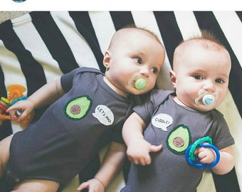 """Twin bodysuits """"Let's Avo-Cuddle"""", Fun Cute Twin set of bodysuits, great baby shower gift for twins, twins gift"""