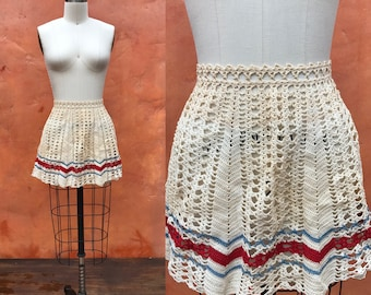 Vintage 50s 60s Tatted Crocheted Women's Half Waist Apron. Ivory Red light Blue