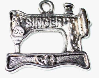 4 charms machine Singer sewing machine silver 2.1x1.8cm MB184