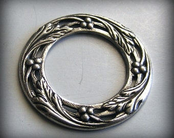 LuxeOrnaments Oxidized Sterling Silver Plated Brass Filigree Flat Porthole Frame 27mm (1 pc) U368-VJS S-5966