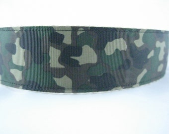 Camouflage hemp dog collar