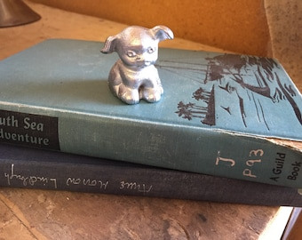 Vintage Cast Iron Hubley Advertising Bucki Carbons Ribbons Pup - Tiny Collectible Paperweight