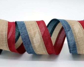 "Wired Patriotic Ribbon ~ 2.5"" Wired Patriotic Ribbon ~ Red, Natural & Blue Tri-Striped Ribbon ~ 4th of July Craft Ribbon ~ 3 Yards"