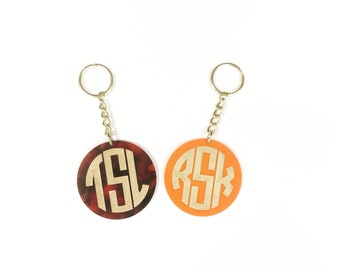 Monogram key chain - Personalized Key chain - Tortoise Key chain