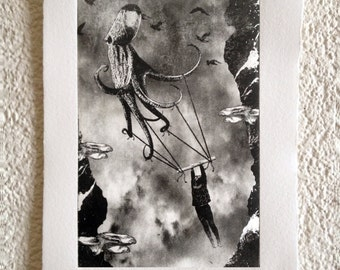 The Girl and The Octopus - original black and white art print from the series From the Woods, From the Air, From I don't know Where