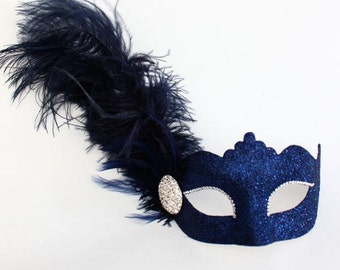 Beautiful Navy, Silver, Gold Sparkly Feather Masquerade Mask