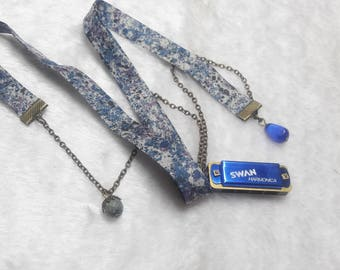 Liberty Blue & gray Harmonica necklace