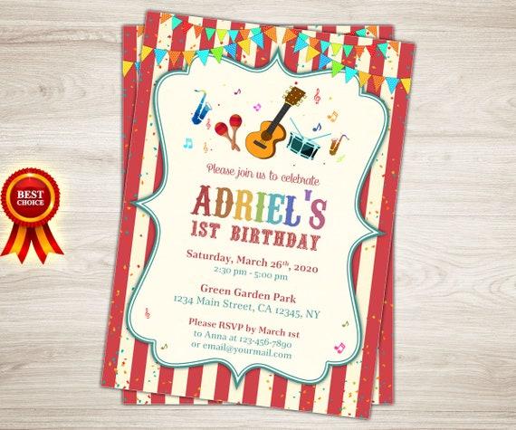 Music birthday invitation boy or girl music themed birthday like this item filmwisefo Images