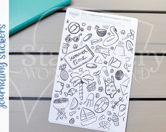Summer your mess coverup journaling sticker - Adult coloring journal stickers, coloring therapy stickers - A5 sticker page for journals