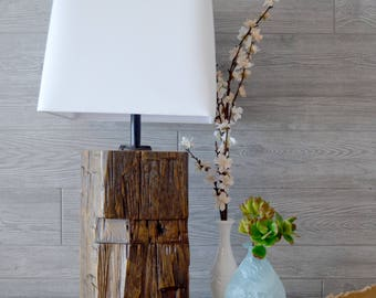 Reclaimed Timber Beam Table Lamp