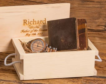 Personalized Watch and Monogram Leather Wallet, Anniversary, Wedding, Retirement, Graduation, Fathers Day, Christmas, Groom Gift WSOO1&ZB36