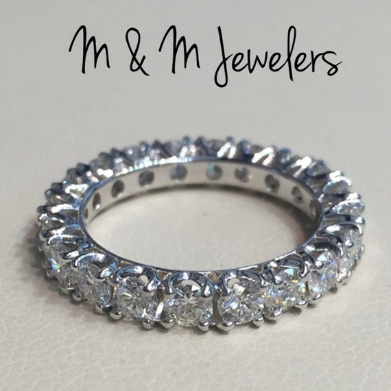 14K White Gold 2ct Diamond Eternity Band