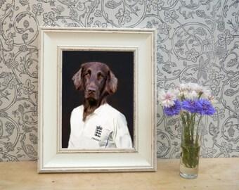 Red Setter dressed as Cricketer Framed Pet Portrait Print
