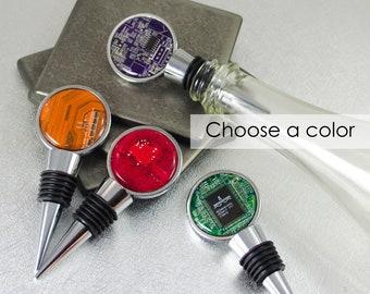 CHOOSE COLOR Circuit Board Wine Bottle Stopper, Geek Wine Drinker Gift, Nerdy Housewarming Gift, Stocking Stuffer, Wine Lover, Geekery