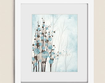 Blue and Brown Wall Art Tree Print, 11 x 14 Brown and Blue Home Décor, Living Room Art, Bedroom Art Print Tree, Wall Decor  (272)