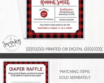 Buffalo Plaid Baby Shower Invitation, Lumberjack Baby Shower, The Adventure Begins Invitation, Woodland Baby Shower Theme, Camping Shower
