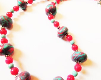 Polymer clay beaded Marble Necklace -Turquoise/Pink~/boho/ statement Necklace