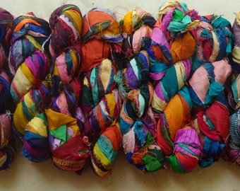 2 for 20 Multicolor Recycled Sari Silk Ribbon Yarn, 3.5 oz / 100 grams, 55 yards each, Upcycled, Bulky, Craft, Jewelry, Knit, Crochet, Weave
