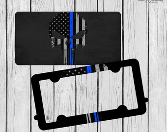Blue Line License Plate ~ License Plate Frame Set ~ Thin Blue Line ~ Patriotic License Plate ~ Flag Car Tag ~ Skull Car Tag ~ Skull Frame