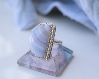 Blue lace agate ring sterling silver agate ring silver agate ring silver gemstone ring blue lace agate jewelry size 7 ring
