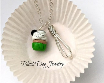 Wire Wrapped Whisk Necklace with Polymer Clay Cupcake Charm -  Bakers and Cooking Jewelry - Kawaii Pendant - Argentium Sterling Silver