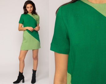Mod Mini Dress 60s Linen Space Age COLOR BLOCK Shift Green 1960s Twiggy Stewardess Vintage Green Scooter Short Sleeve Small