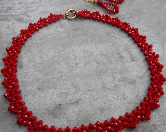 Red Beaded Necklace and Earrings