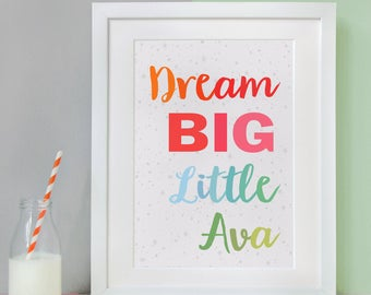Dream Big Little One Personalised Baby Print - New Baby Print - Personalised Nursery Artwork - Nursery Print - Inspirational Quote Print