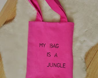 tote bag in old linen dyed pink lined