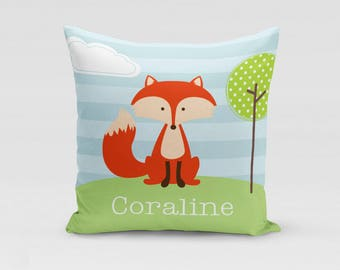 Fox Pillow Cover - Customized Twill Pillowcase - Woodland Animal Pillow - Personalized with Name - COVER only