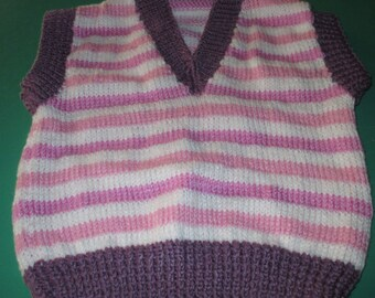 Gorgeous Pink and White Striped  Hand Knitted Vest for a Girl aged around 2 years.
