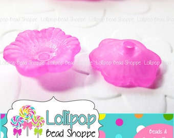 HOT PINK Lucite FLOWER Beads Frosted Beads Transparent Beads 11mm 50 Petunia Flowers Acrylic Bead Cap Plastic Bead Caps Bottle Cap Beads