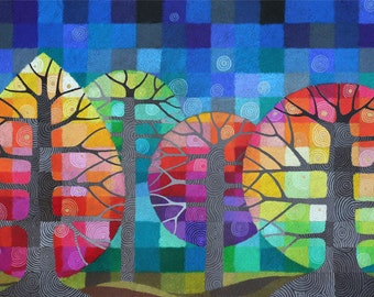 Backyard with Fireflies I art print, colourful rainbow geometric trees with handpainted details