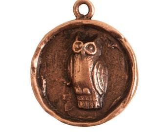 Round Owl Pendant - Antique Copper (plated)