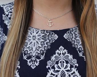 Silver Anchor Necklace.
