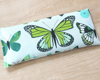 Lavender Eye Pillow, Green Butterflies, Relaxation Gifts for Her