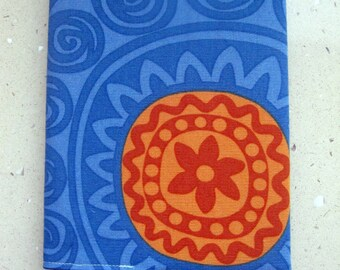 A5 Fabric Covered Notebook, Diary or Journal. Reusable. 100% Cotton Blue and Orange. Fully Lined. For Teacher, Student. Back to school.