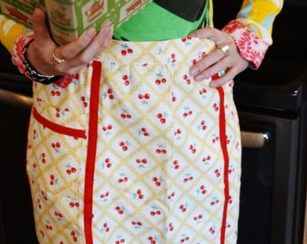 Vintage Hostess Apron - Cherries - Half Apron