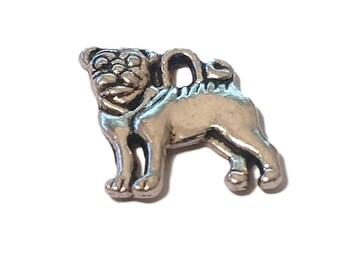 4 Silver Pug Charms   Pug Jewelry   Dog Charm   Dog Jewelry   Pug Pendant   Pet Charm   Pet Charm   Ready to Ship USA   AS225-4