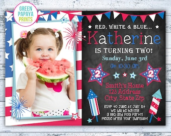 4th of July Birthday Invitation - Fourth of July - Fireworks - Patriotic - Red White and Blue - 1st, 2nd Birthday - Printable Digital File