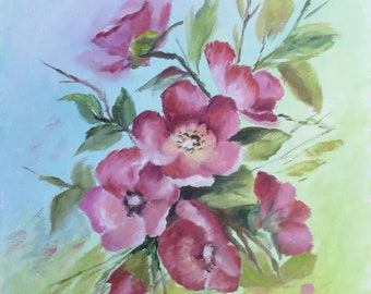 Floral Red Blossoms Painting; Wild Roses Wall Fine Art