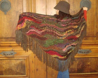 Hand-knitted wool stole shawl. Handmade Knitted Shawl