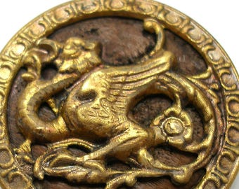 "XL Antique DRAGON BUTTON, 1800s Victorian monster, winged beast. 1.5""."