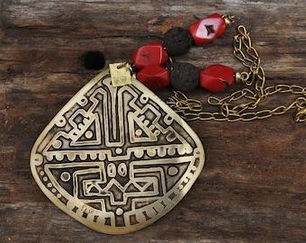 Tribal Necklace, Charm Necklace, Boho Necklace, Tribal Charm Necklace, Boho Charm Necklace, Pendant Necklace, Aztec Necklace, Mayan Necklace