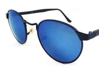 vintage 90s sunglasses NOS matte black metal sun glasses mens sunglasses retro sunglasses women blue lens round sunglasses 90s sunglasses