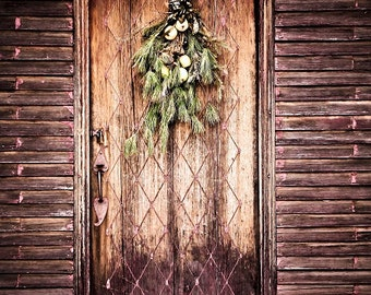 Door Photography Rustic Vintage Swag Brown Natural Winter Doorway Holiday Garland Colonial Christmas,  Fine Art Photography